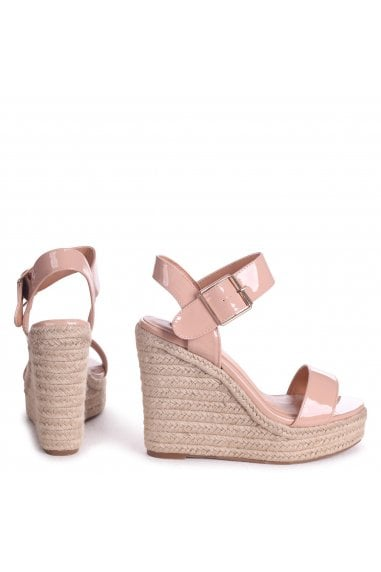 Cuba Nude Patent Rope Platform Wedges