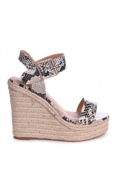 CUBA - Natural Snake Nappa Rope Platform Wedge