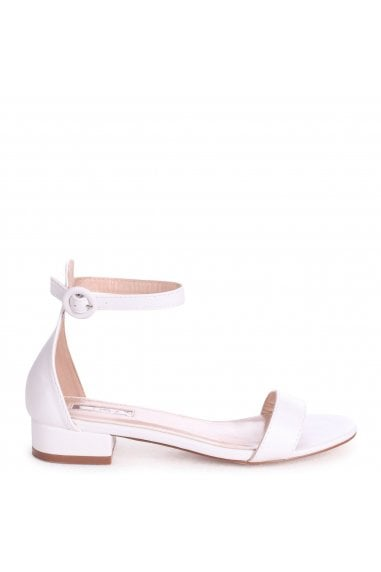 MONIQUE - White Nappa Barely There Block Heeled Sandal