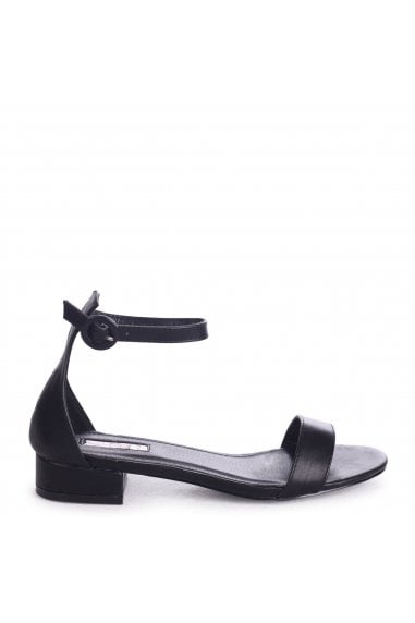 MONIQUE - Black Nappa Barely There Block Heeled Sandal