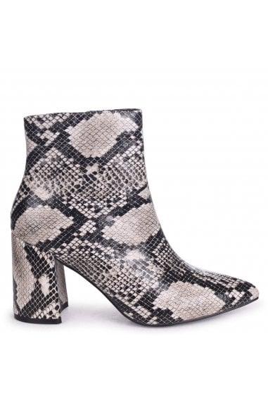 ALICE - Natural Snake Block Heeled Boot With Pointed Toe