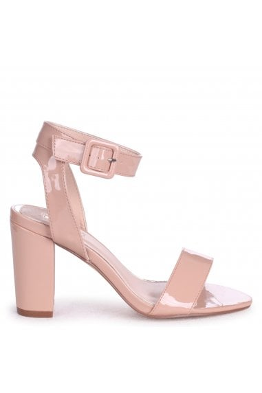 MILLIE - Nude Patent Open Toe Block Heel With Ankle Strap And Buckle Detail