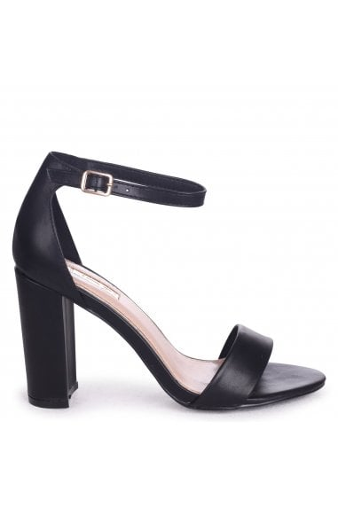 Nelly Black Nappa Single Sole Block Heels