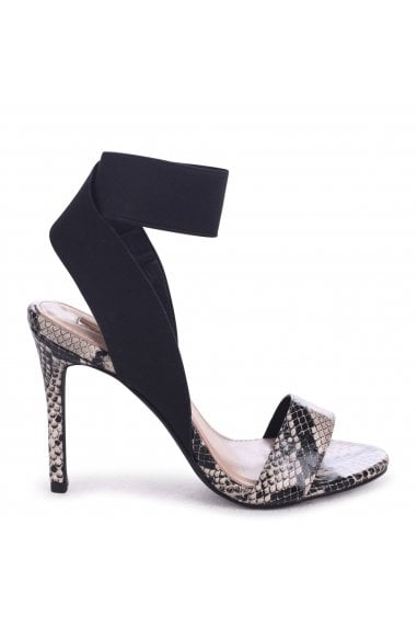 CRYSTAL - Natural Snake Stiletto Heel With Elasticated Upper