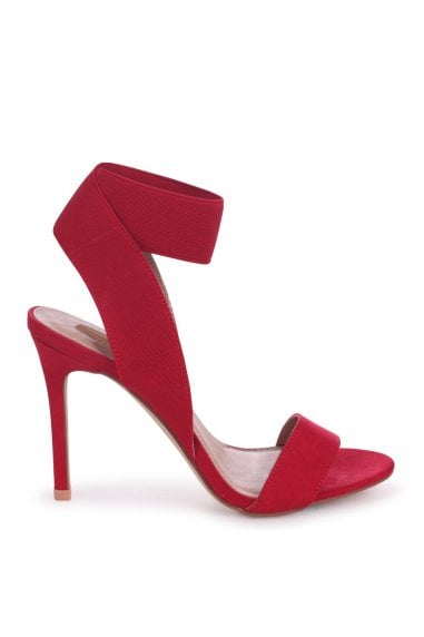 Crystal Red Suede Stiletto Heels With Elasticated Upper