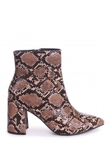 ALICE - Mocha Snake Block Heeled Boot With Pointed Toe