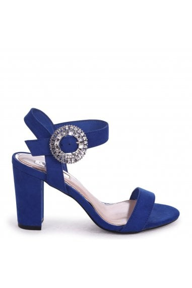 DIAMOND - Cobalt Blue Suede Heeled Sandal With Heavily Embellished Buckle