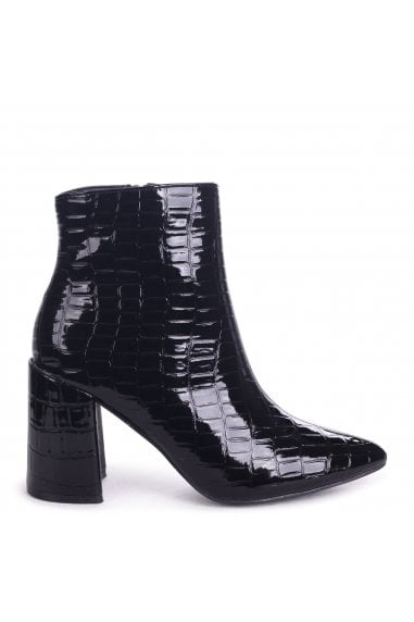 Alice Black Croc Patent Block Heeled Boots With Pointed Toe