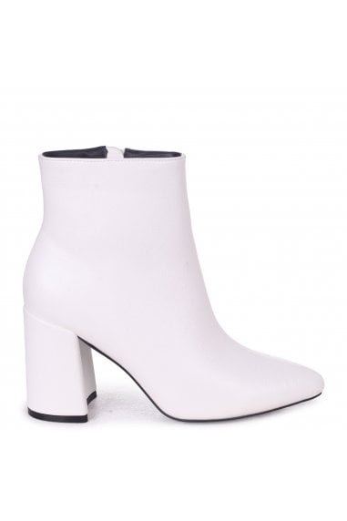 Alice White Nappa Block Heeled Boots With Pointed Toe