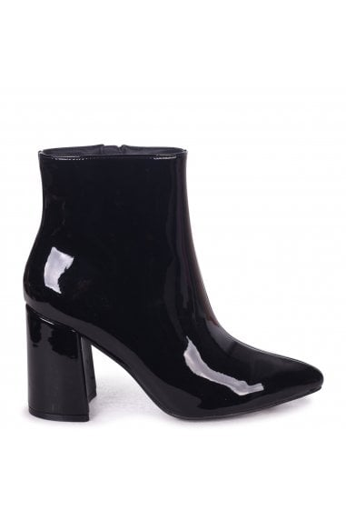Alice Black Patent Block Heeled Boots With Pointed Toe