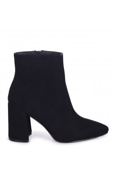 Alice Black Suede Block Heeled Boots With Pointed Toe