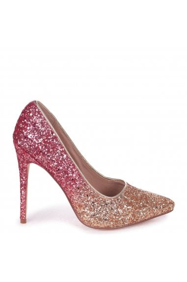 Aston Pink And Gold Glitter Ombre Effect Classic Pointed Court Heels
