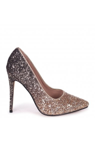 Aston Gold Glitter Ombre Effect Classic Pointed Court Heels