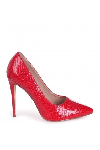 Aston Red Lizard Patent Classic Pointed Court Heels