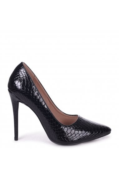 Aston Black Lizard Patent Classic Pointed Court Heels