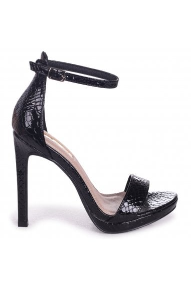 Gabriella Black Lizard Patent Barely There Stiletto Heels With Slight Platform