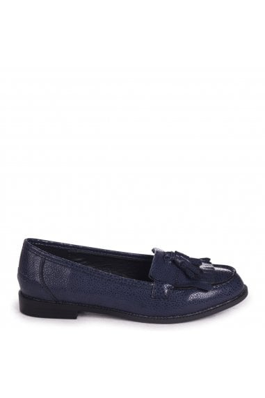 ROSEMARY - Navy Spotted Textured Pattern Classic Slip On Loafer