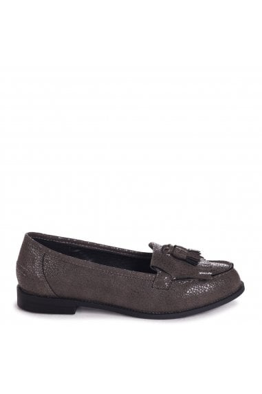 ROSEMARY - Grey Spotted Textured Pattern Classic Slip On Loafer