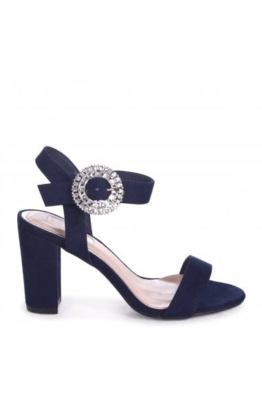 DIAMOND - Navy Suede Heeled Sandal With Heavily Embellished Buckle