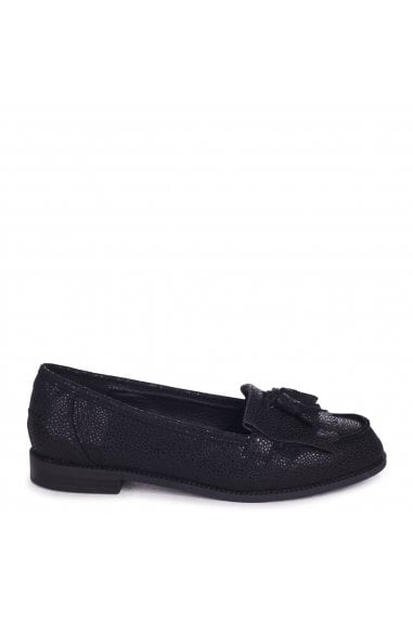ROSEMARY - Black Spotted Textured Pattern Classic Slip On Loafer