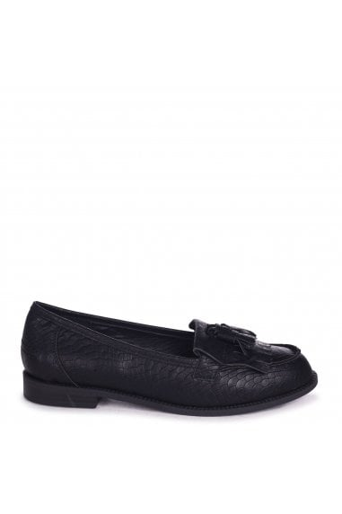 ROSEMARY - Black Snake Faux Leather Classic Slip On Loafer