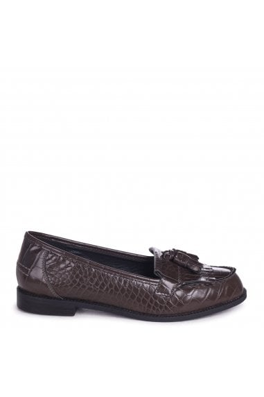 ROSEMARY - Grey Croc Faux Leather Classic Slip On Loafer