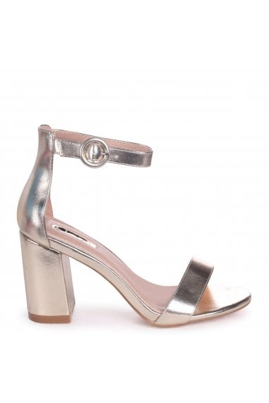 Sesame Gold Metallic Barely There Block Heeled Sandals