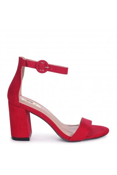 Sesame Red Suede Barely There Block Heeled Sandals
