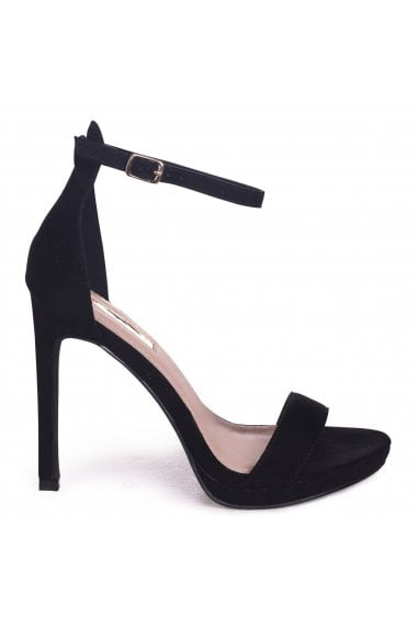 GABRIELLA - Black Suede Barely There Stiletto Heel With Slight Platform