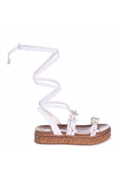 MELANIE - White Nappa Tie Up Flatform with All Over Floral Detail