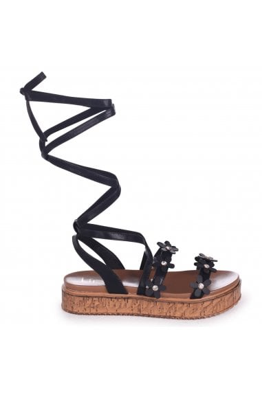 MELANIE - Black Nappa Tie Up Flatform with All Over Floral Detail