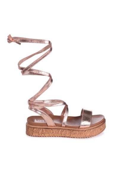 TRUDY - Rose Gold Tie Up Espadrille Inspired Flatform