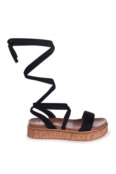 TRUDY - Black Tie Up Espadrille Inspired Flatform