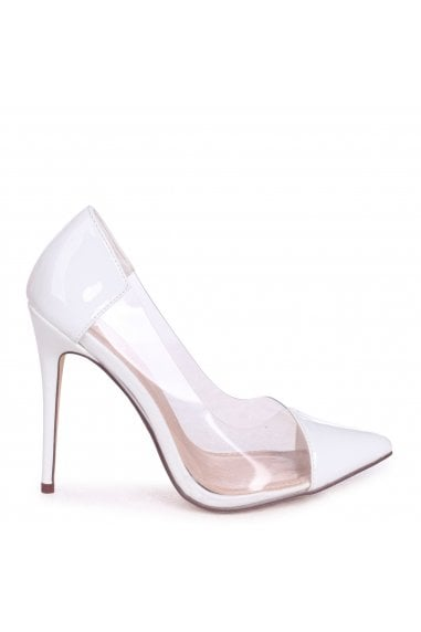 KYLIE - White Patent Faux Patent Leather Perspex Heel