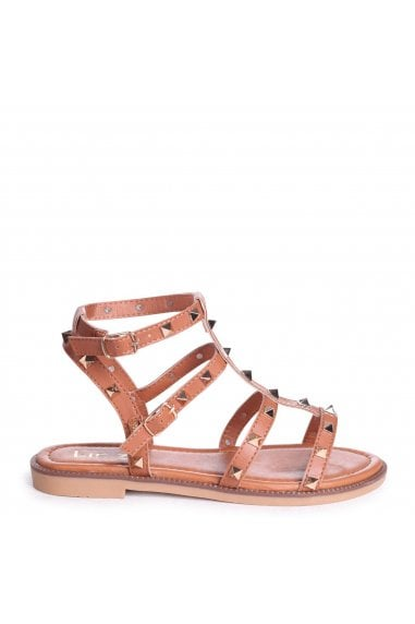aa36334ff2ff BILLIE - Tan Studded Gladiator Sandal With Embellished Sole · Linzi ...