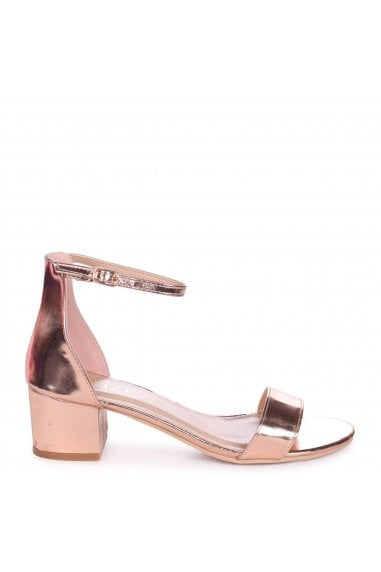 NADINE - Rose Gold Nappa Barely There Heeled Sandal With Closed Open Back