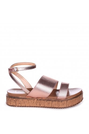 LORRAINE - Rose Gold Metallic Shimmery Flatform with Large Double Front Strap