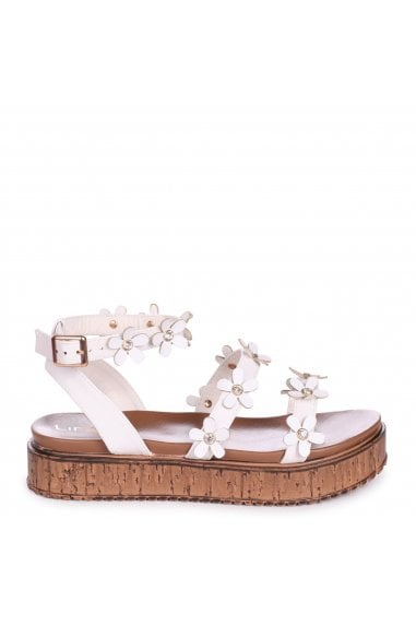 MELODY - White Nappa Flatform with All Over Floral Detail