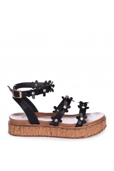 MELODY - Black Nappa Flatform with All Over Floral Detail