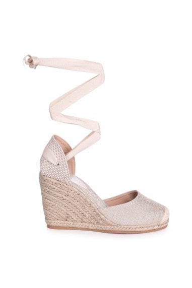 MEGHAN - Beige Canvas Closed Toe Espadrille Wedge With Tie Up Straps