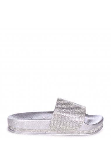 MAGGIE - Silver Slip On Slider With Diamante Strap & Trim