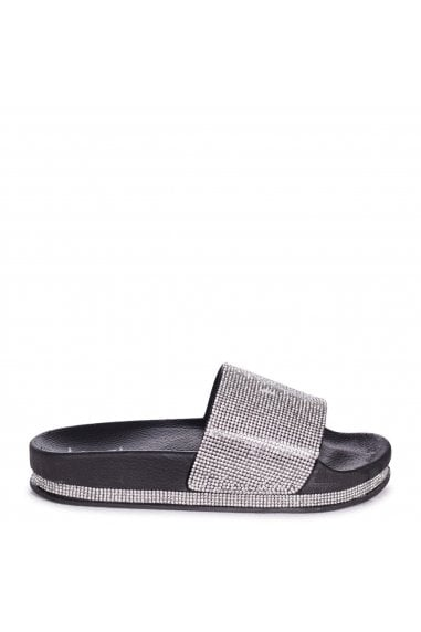 MAGGIE - Black Slip On Slider With Diamante Strap & Trim