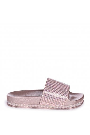MAGGIE - Rose Gold Slip On Slider With Diamante Strap & Trim