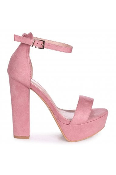 VIRGINIA - Pink Suede Extreme Platform Barely There Block Heel