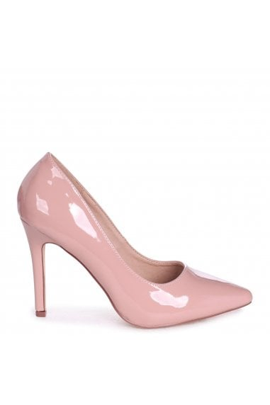 COLETTE - Blush Faux Patent Leather Classic Court Shoe with Stiletto Heel
