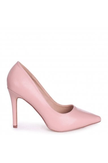 Colette Dusky Pink Faux Leather Classic Court Shoe with Stiletto Heel
