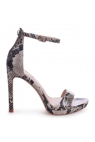 GABRIELLA - Natural Snake Nappa Barely There Stiletto Heel With Slight Platform