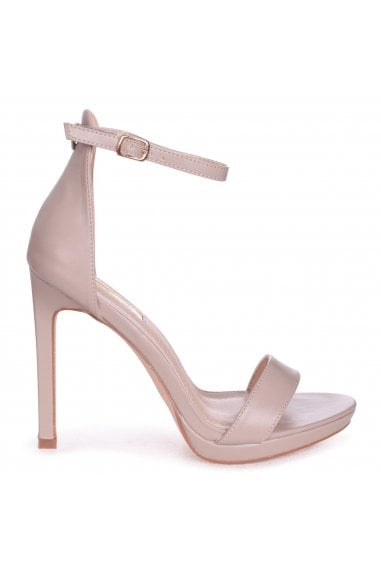 Gabriella Taupe Nappa Barely There Stiletto Heel With Slight Platform