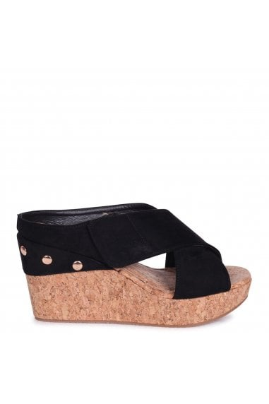 CARA - Black Suede Slip On Cork Wedge With Velcro Crossover Front Strap