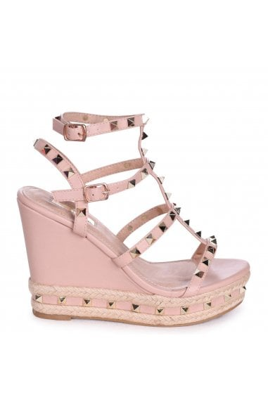 SHANON - Nude Nappa Wedge With Studded Detail, Ankle Strap & Rope Trim